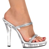 Transparent 13 cm LIP-102-2 Platform High Heel Mules Rhinestone