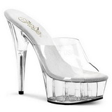 Transparent 15,5 cm Pleaser DELIGHT-601 Platå Höga Slip in Mules