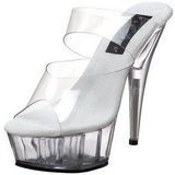 Transparent 15,5 cm Pleaser DELIGHT-602 Platå Höga Slip in Mules