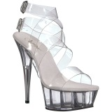 Transparent 15 cm DELIGHT-635 högklackade sandaletter