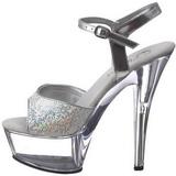 Transparent 15 cm KISS-210 High Heels Glitter Platform