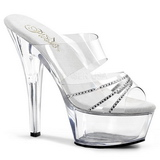 Transparent 15 cm Pleaser KISS-202R Högklackade Slipper Damskor