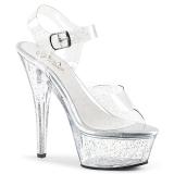 Transparent 15 cm Pleaser KISS-208MMG glitter platå klackar skor