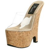 Transparent 16,5 cm Pleaser BEAU-601 Kork Kilklackar Wedges Skor