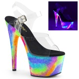 Transparent 18 cm ADORE-708GXY Neon platform high heels shoes