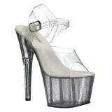 Transparent 18 cm ADORE-708MG glitter platform high heels shoes