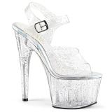 Transparent 18 cm ADORE-708MMG glitter platå klackar skor