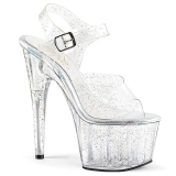 Transparent 18 cm ADORE-708MMG glitter platform high heels shoes