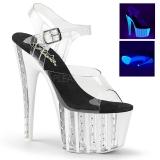 Transparent 18 cm ADORE-708VLRS rhinestone platform high heels