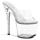 Transparent 18 cm DIAMOND-701 Women Mules Rhinestone Heels