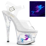 Transparent 18 cm MOON-708MER Neon platform high heels shoes