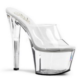 Transparent 18 cm PLEASER SKY-301 Platform Mules Shoes