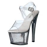 Transparent 18 cm Pleaser SKY-308MG glitter platå klackar skor