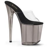 Transparent 20 cm FLAMINGO-801T Exotic stripper high heel mules