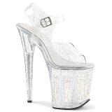 Transparent 20 cm FLAMINGO-808MMG glitter platå klackar skor