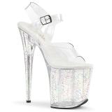 Transparent 20 cm Pleaser FLAMINGO-808MG glitter platå klackar skor