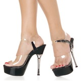 Transparent Black 14 cm ALLURE-608 Platform High Heels Shoes