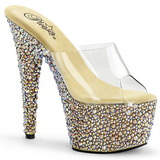 Transparent Gold 18 cm BEJEWELED-701MS Strass Platform Mules