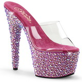 Transparent Pink 18 cm BEJEWELED-701MS Strass Platå Slip in Mules