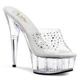 Transparent Rhinestone 15,5 cm DELIGHT-601RS Platform Mules Shoes