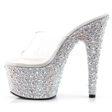 Transparent Silver 18 cm BEJEWELED-701MS Strass Platå Slip in Mules