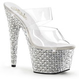 Transparent Silver 18 cm BEJEWELED-702PS Strass Platå Slip in Mules