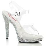 Transparent high heels 12,5 cm GLORY-508DM strass platå high heels