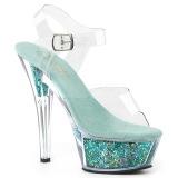 Turkosblå 15 cm KISS-208GF glittriga platå sandaler skor