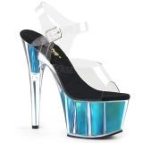 Turkosblå 18 cm ADORE-708HGI Hologram platå klackar skor