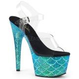 Turkosblå 18 cm ADORE-708MSLG glittriga platå sandaler skor