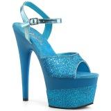 Turkosblå 18 cm ADORE-709-2G glitter platå high heels