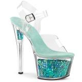Turkosblå 18 cm SKY-308GF glittriga platå sandaler skor