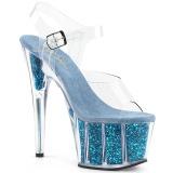 Turkosblå glittriga klackar 18 cm Pleaser ADORE-708G pole dance skor
