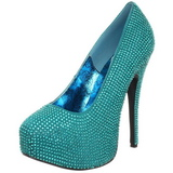 Turquoise Rhinestone 14,5 cm Burlesque TEEZE-06R Platform Pumps Women Shoes