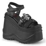 Vegan Black 15 cm Demonia WAVE-13 lolita platform wedge sandals