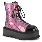 Vegan Hologram 5 cm SLACKER-88 demonia ankle boots platform