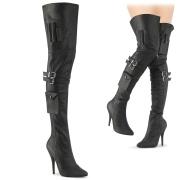 Vegan boots 13 cm SEDUCE-3019 lårhöga boots med klack og spænder