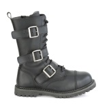 Vegan läder RIOT-12BK ståltå stövlar - demonia militära stövlar