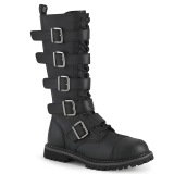 Vegan läder RIOT-18BK ståltå stövlar - demonia militära stövlar