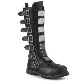 Vegan läder RIOT-21MP ståltå stövlar - demonia militära stövlar