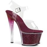 Vinröd 18 cm SKY-308G-T glittriga platå sandaler skor
