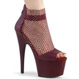 Vinröda högklackade skor 18 cm ADORE-765RM glittriga högklackade platåskor