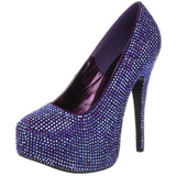 Violet Rhinestone 14,5 cm Burlesque TEEZE-06R Platform Pumps Women Shoes