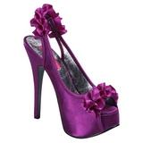 Violett Satin 14,5 cm Burlesque TEEZE-56 Platå Högklackade Sandaler Skor