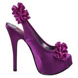 Violett Satin 14,5 cm TEEZE-56 Platå Högklackade Sandaler Skor