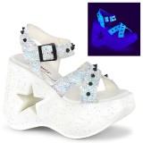 Vit 13 cm Demonia DYNAMITE-02 lolita sandaler med kilklack