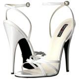 Vit 15 cm DOMINA-108 fetish sandaler med stilettklack