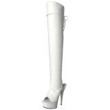Vit Konstläder 15 cm DELIGHT-3019 Lårhöga Stövlar med Platåsula