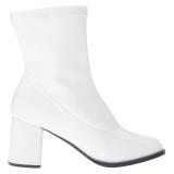 Vit Konstläder 7,5 cm GOGO-150 stretch ankleboots med blockklack till kvinnor