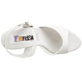 Vit Lack 15 cm JULIET-209 Högklackat sandaletter platå